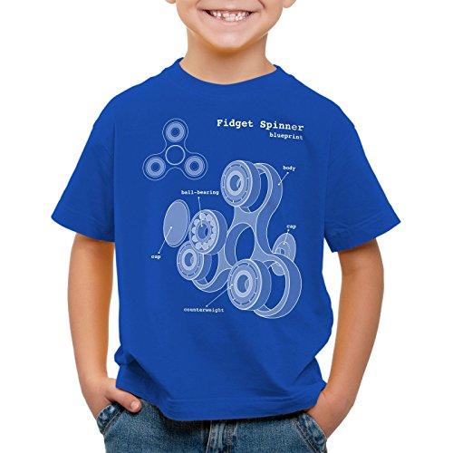 style3 Fidget Hand Spinner Kinder T-Shirt Handspinner Toy Blaupause, Farbe:Blau;Größe:152