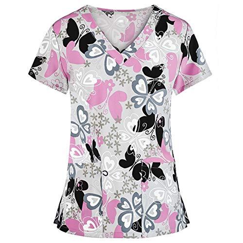 Corlidea Kasack Damen Pflege mit Schmetterling Motiv Bunt T-Shirt Schlupfkasack mit Taschen Kurzarm V-Ausschnitt Schlupfhemd Berufskleidung Krankenpfleger Uniformen Nurse