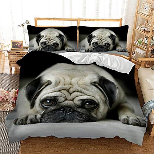 Juego de ropa de cama con diseño de animales, gato, perro, microfibra, impresión digital 3D, 3 piezas, con cremallera y funda de almohada, juego de cama juvenil (220 x 240 cm + 2 x 50 x 70 cm)