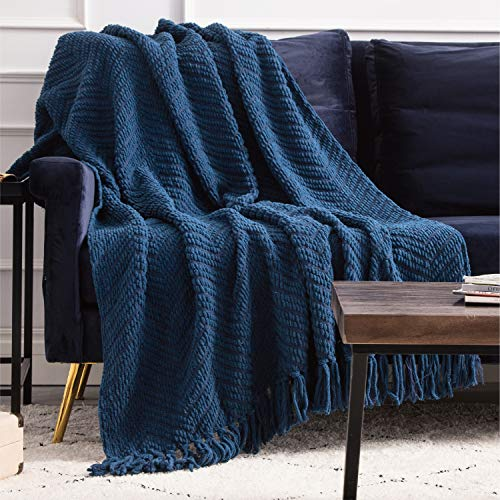 Bedsure Navy Blue Throw Blankets for Couch, Textured Knit Woven Blanket, 50x60 Inch - Super Soft Warm Decorative Blanket with Tassels for Couch, Bed, Sofa and Living Room