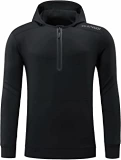 Mens Plain Hooded Sweatshirt Quick dry Lightweight Workout Hoody Pullover Breathable Stretchy Gym Hoodies Tracksuit Tops O...