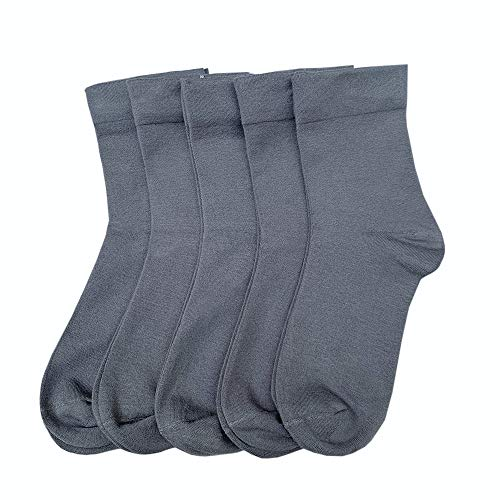 Damen-Socken aus Seide, Knöchelsocken, Schweißabsorption, leicht, Deodorant, legere, weiche Socken, 5 Paar - Grau - Large