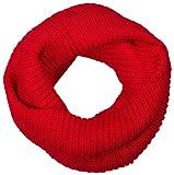styleBREAKER Unisex Feinstrick Schal, einfarbiger Loop Schlauchschal, Feinripp Winter Strickschal, Loopschal 01018112, Farbe:Rot