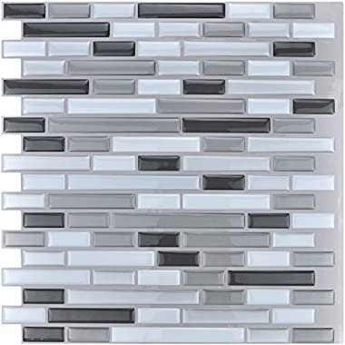 Art3d 12  x 12  Peel and Stick Tile Kitchen Backsplash Sticker Gray Brick (6 Tiles)