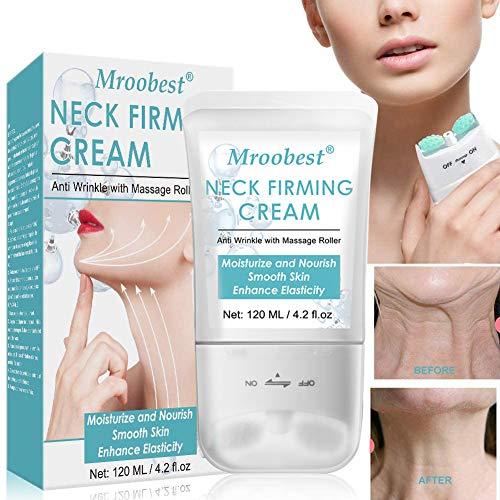 Crema Para El Cuello,Neck Cream,Doble Rodillo V Crema Del Cuello,Hidrata la piel, mejora la elasticidad, piel suave antiarrugas/envejecida, para un cuello más firme ysin arrugas 120g