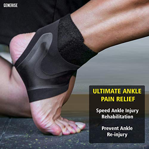 Ankle Supports for Weak Ankles (1 Pair) GENERISE Adjustable Ankle Brace Provides Compression & Ankle Support for Sprained Ankle, Tendonitis, Ligament Damage & More - Black (Small (Pair))