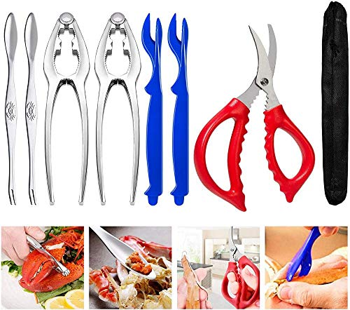 Crab and Lobster Tools - Crab Leg Crackers and Picks Set, Picks Knife for Crab, Shellfish Scissors Nut Cracker, Stainless Steel Seafood Utensils Crackers & Forks Cracker