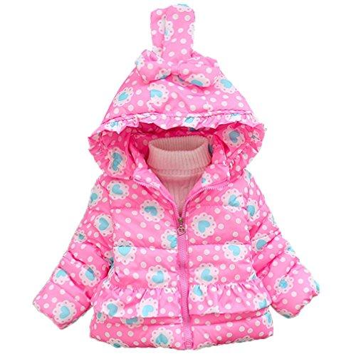 VENMO Mädchen Bow mit Kapuze unten Mantel Baumwolljacke Dicke Kleidung Warmes Zipper Outwear Jacken leichte Daunenjacke Mantel Print Hooded Trenchcoat Winterjacke gesteppt Daunenjacken (80, Pink)