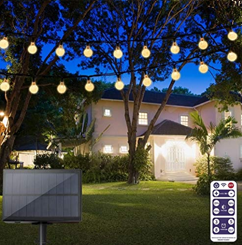 TTKTK Solar String Lights with Remote Control 60 LED 33ft Outdoor Waterproof Solar Powered Crystal Ball (1 inch) Decorative Lights for Garden, Patio, Yard, Home, Chrismas Tree, Parties (Warm White)