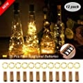 Cork?Lights?for?Wine?Bottle, Warm White 12 Pack Battery Operated Led Wine?Cork?Lights Silver Copper Wire Cork?Fairy?Lights for DIY, Party, Decor, Christmas, Wedding