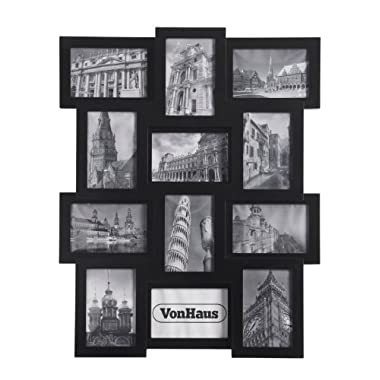 VonHaus 12 x Decorative Collage Picture Frames for Multiple 4x6 Photos - Black Wooden Hanging Wall Photo Frame