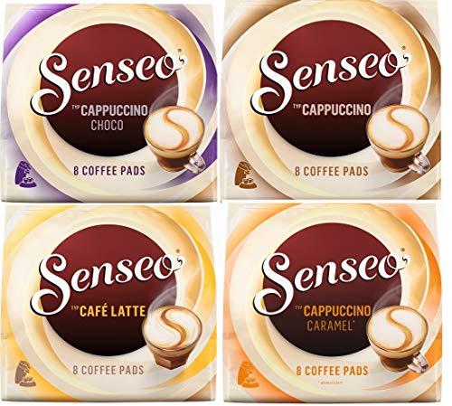 Senseo - Juego de cápsulas de café con leche Senseo: sabores Café Latte, Cappuccino, Choco Cappuccino, Cappuccino Caramel, 4x 8cápsulas de café