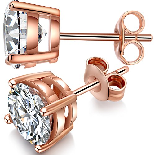 Jiamiaoi Pendientes Pendientes de plata para mujer Pendientes de diamantes de cristal de plata Pendientes de oro rosa 925 Circonita cúbica Pendientes CZ brillantes Pendientes de mujer de 5 mm