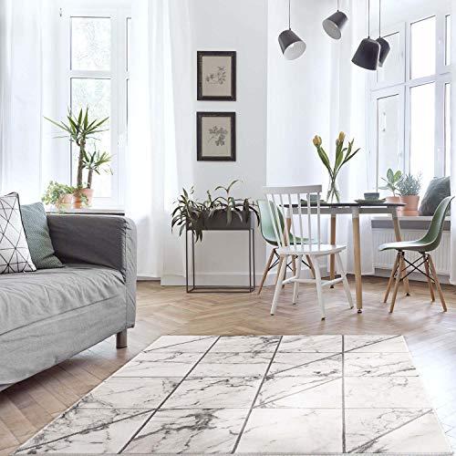 MyShop24h Teppich Läufer Flur - Beige-Gold- 80x300cm Kurzflor- Bordüre Meliert Modern Wohnzimmer Schlafzimmer Marmor Deko