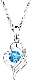 Collar Molady con forma de corazón azul para mujer, plata de ley S999, con diamantes de circonio, seguro y no alérgico, ca...