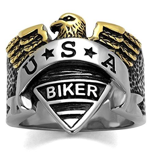 ISADY - US Militare Biker - Anillo Hombre - acero inoxidable - Esmalte Negro «US MilitareA Biker» - T 18