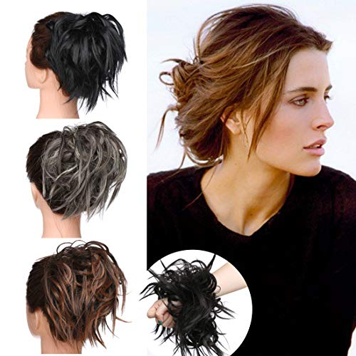 SEGO Tousled Updo Messy Bun Hair Piece Scrunchies Synthetic Wavy Bun Extensions Rubber Band Elastic Scrunchie Chignon Instant Ponytail Hairpiece for Women #1B Natural Black