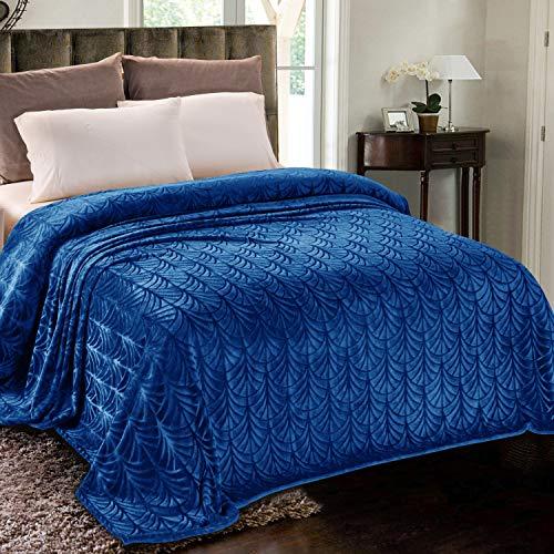Whale Flotilla Flanell-Fleece-Doppelbett (228 x 167 cm) leichte Bettdecke, weicher Samt-Tagesdecke, Plüsch, flauschige Decke, Palmblätter-Design, dekorative Decke für alle Jahreszeiten, Königsblau