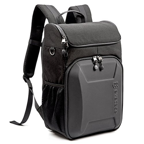 Evecase Shell DSLR Camera / 15.6-inch Laptop Water Resistant Backpack Travel Daypack w/Rain Cover and Inner Bag for Digital SLR, Mirrorless Camera and More (Black/Black)