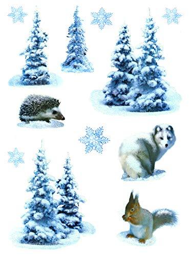 deko-punkt-roth. Fenstersticker Set 12-TLG. Husky Hund Tannen Schnee Igel Eichhörnchen Fensterdeko Fensterbild Weihnachten Winter Weihnachtsdeko