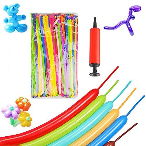 SIMUER Magische Luftballons Latexballons, 200 Stück Gemischte Farbe Lange Verdrehen Ballons Modellierballons mit Luftpumpe