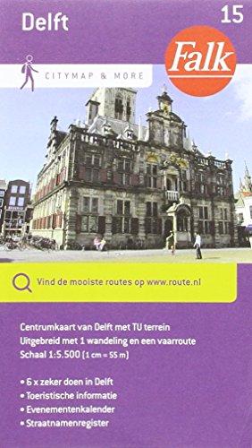 Delft: centrumkaart van Delft met TU terrein uitgebreid met 1 wandeling en een vaarroute