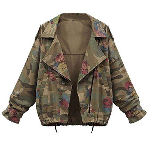 Moonuy,Damen Long Sleeve Hoodies, Damen Cord Patchwork Oversize Zipper Jacke Windbreaker Crop Mantel Lässige Mantel für Party, Beach Damen Mädchen Sweatshirt (Tarnung, EU 42 / Asien 2XL)