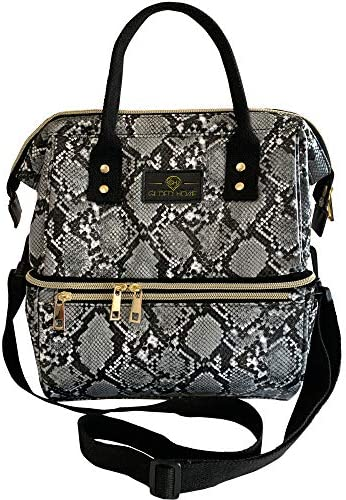 Gilded Imports Insulated Double Tier Large Designer Lunch Bag Tote Multi Uses Everyday Lunch product image