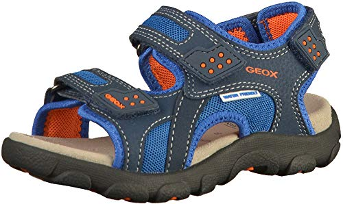 Geox Jr Strada B, Sandali Punta Aperta Bambino, Blu (Navy/Orange C0659), 28 EU