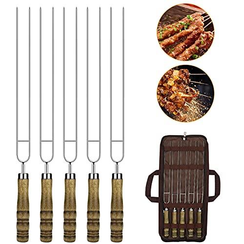 Augot Spiedini Acciaio Inox, 5 Pezz Sicuro Spiedini per Barbecue Termoresistente Forma a U Spiedini in Acciaio con Manico in Legno Riutilizzabili Spiedini per Carne per Il Campeggio Esterno, 42CM