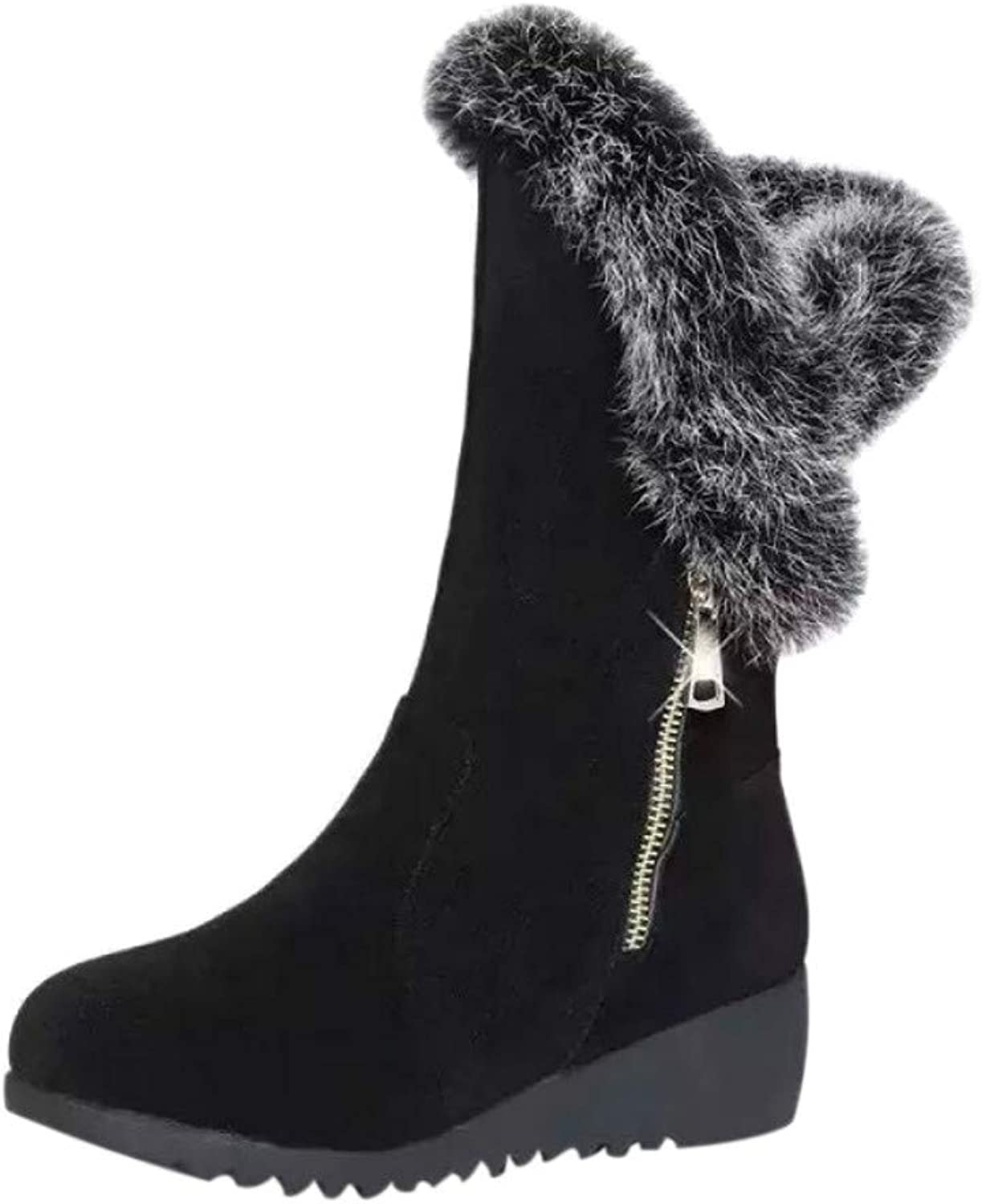 Wedges Heel Suede Black Ankle Boots Womens Plus Velvet Zipper Round Toe Winter