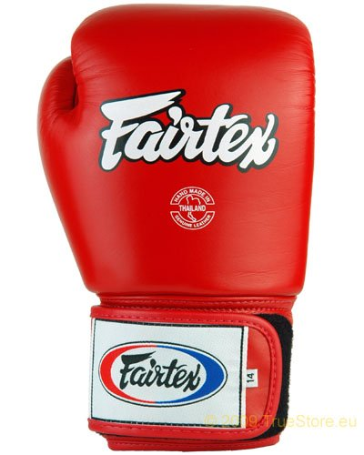 Fairtex BGV1 - Guantoni da box Tight Fit in pelle, Rosso (rosso), 16 Unzen