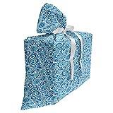 ABAKUHAUS Motif Cachemire Sac Cadeau pour Fête Prénatale, Vintage Ottoman Shabby, Pochette en Tissu Réutilisable de Fête avec 3 Rubans, 70 x 80 cm, Violet Bleu Blanc