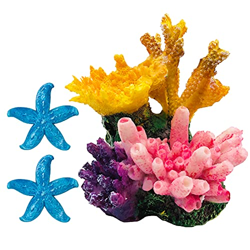 GSD Aquarium Coral Reef Decoration Set Resin Fish Tank Ornaments Accessories for Undersea Aquarium Landscape Decor, Coral Reef Ornament x 1, Blue Starfish Ornaments x 2, Yellow and Pink