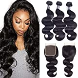 Amella Hair 100% Unprocessed Brazilian Body Wave Bundles with Closure (16 18 20 +14Closure, Natural Black) Virgin Brazilian Hair Bundles Weave with Lace Closure Free Part
