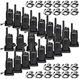 Retevis RT68 Walkie Talkies with Earpiece,2 Way Radios Long Range,Heavy Duty Walkie Talkies for Adults,Rechargeable with USB Charger Base, for Restaurant School Manufacturing Healthcare(20 Pack)