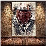 Acuarela Graffiti paisaje abstracto ciudad de Londreslienzo pintura carteles impresiones arte de pared para sala de estar Cuadros -60x80cm sin marco