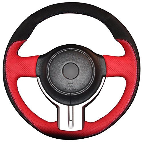 Loncky Black Suede Red Genuine Leather Auto Custom steering wheel covers for 2013 2014 2015 2016 Scion FR-S / 2013-2016 Subaru BRZ / Toyota 86