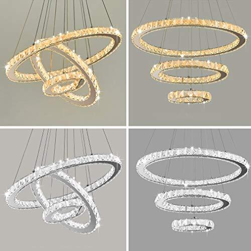 LED Modern Crystal Chandeliers Fernbedienung 3 Ringe LED-Deckenleuchte kalt-warmes Licht umschaltbar Verstellbare Edelstahl-Pendelleuchte für Schlafzimmer Wohnzimmer Esszimmer (20+40+60 cm 72-98W)