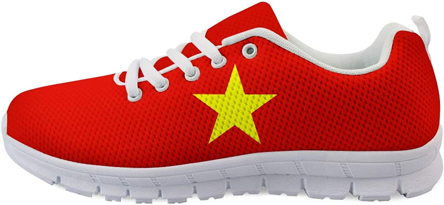 Owaheson Lace-up Sneaker Training shoes Mens Womens Vietnam Flag