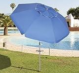 PAPILLON 8042665 Sombrilla Playa Aluminio Ø 220 cm. con Mangos y Pincho/Espiral Protección UV