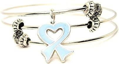 ChubbyChicoCharms Prostate Cancer Heart Shaped Awareness Ribbon Expandable Wire Triple Style Bangle Bracelet, 2.5