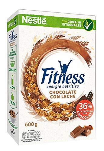 Cereales Nestlé Fitness con chocolate con leche - Copos de trigo integral, arroz y avena integral tostados - 16 paquetes de cereales de 600 g