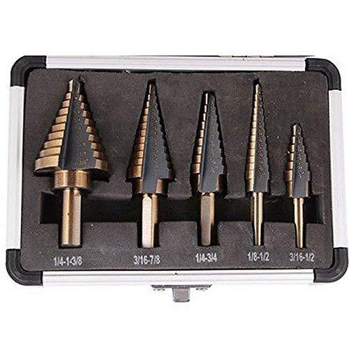 PENFU Drill Arrival 5pcs/Set HSS Cobalt Multiple Hole 50 Sizes Step Drill Bit Set Tools w/Aluminum Case VEM37 T50 Tool