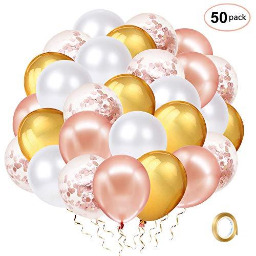 Globos de Confeti Oro Rosa, 50 piezas Globo de Látex Dorado Metálico y Blanco de 12 pulgadas con Cinta Dorada para la Boda Cumpleaños Graduación Despedida de Soltera Baby Shower Decoración del Partido