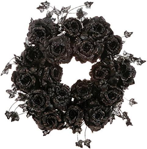 RAZ Imports Halloween Now on Genuine sale Decor - Elegant Glitter Rose Black Wreath