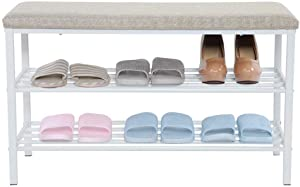 Shoe Bench, 2-Tier Shoe Rack for Entryway Storage Organizer Shoe Stool Seat with Foam Padded Seat for Living Room, Hallway, 31.5X 11.8X 19.7inches(White)