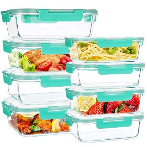 UMIZILI Juego de 8 recipientes de cristal multiusos con pestañas, cajas de comida prep para alimentos, microondas, hornos, congeladores y aptos para lavavajillas.