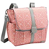JJ Cole - Backpack, Gender Neutral Large Capacity Diaper Bag, Multifunctional, Stylish, with Stroller Clips and Changing Pad, Coral Tile