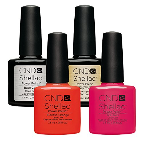CND Shellac Electric Orange plus Pink Bikini plus Top Coat plus Base Coat 7.3 ml, 1er Pack (1 x 29 ml)